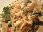 Mediterranean style chicken and artichoke whole wheat pasta