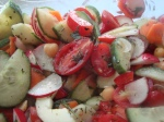 Chickpea, Radish, Cucumber and Pepper salad with herbvinaigrette