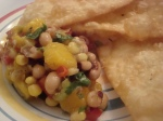 Blackeyed Pea, Corn and Mango Salsa with Homemade Chips